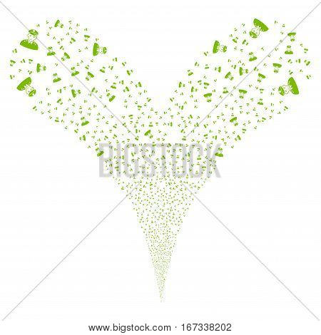 Army General fireworks stream. Vector illustration style is flat eco green iconic symbols on a white background. Object double fountain done from random icons.