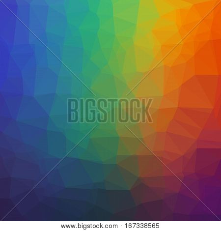 Abstract Geometric Rainbow Background of Triangles. Colorful Stylized Texture of Rumpled Paper.
