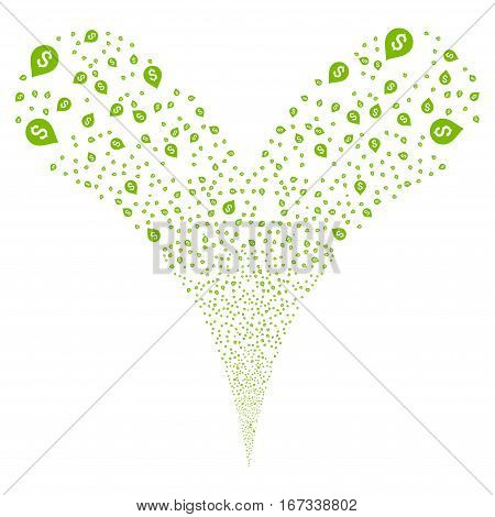 Banking Map Marker fireworks stream. Vector illustration style is flat eco green iconic symbols on a white background. Object double fountain made from random pictographs.