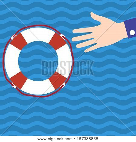 Businessman holds out his hand for help to the lifebuoy in the water during the crisis. Flat icon. vector illustration