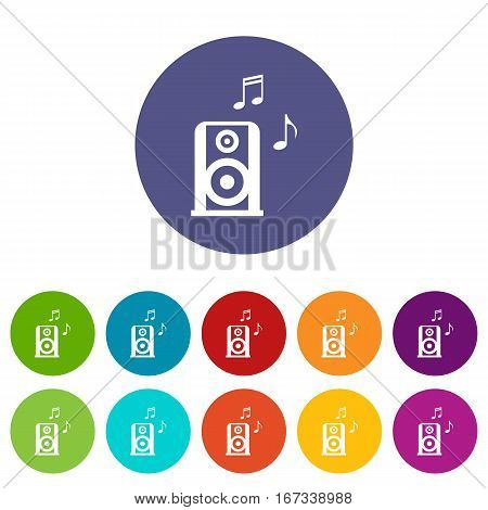 Portable music speacker set icons in different colors isolated on white background