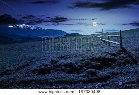 Fence On Rural Field In Spring At Night