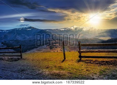 Time Change Concept. Fence On Rural Field In Spring