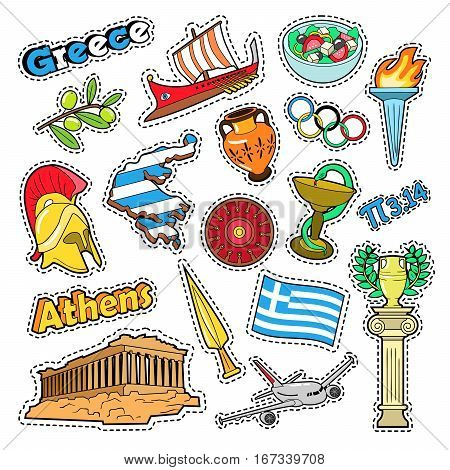 Greece Travel Elements with Architecture and Olimpic Fire. Vector Doodle