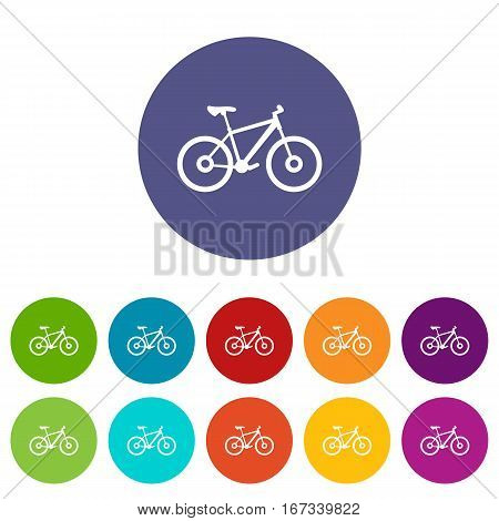 Bike set icons in different colors isolated on white background