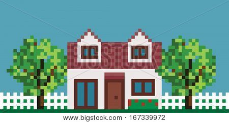Illustration Of Pixel House with Fence and Garden