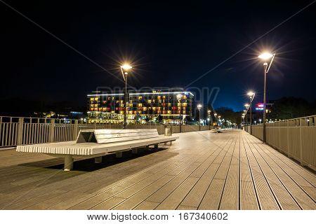 Kolobrzeg, Poland - October 29, 2016: Concrete Pier In Kolobrzeg At Night. Long Time Exposure