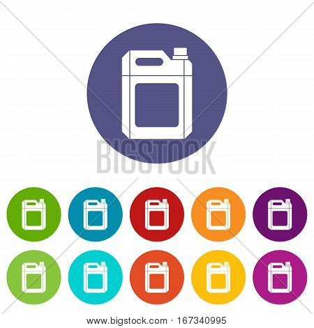 Plastic jerry can set icons in different colors isolated on white background