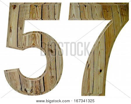 Numeral 57, Fifty Seven, Isolated On White Background, 3D Render