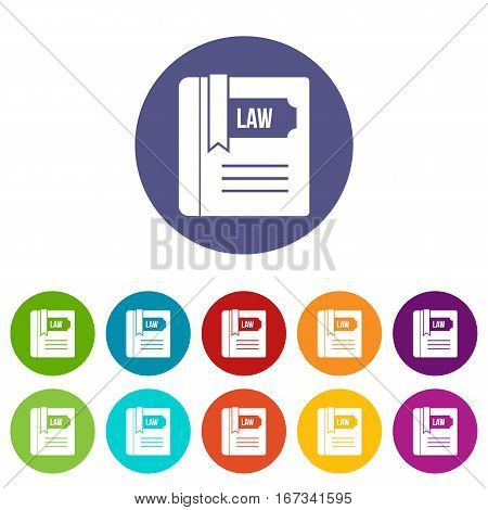 Law book set icons in different colors isolated on white background
