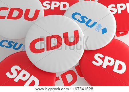 BERLIN GERMANY - JANUARY 29 2017: German Politics Coalition Concept: Pile of Buttons With The Logo of The Political Parties CDU CSU SPD 3d illustration