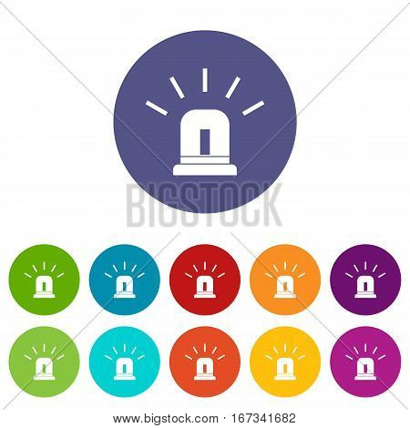 Blue special police flasher set icons in different colors isolated on white background