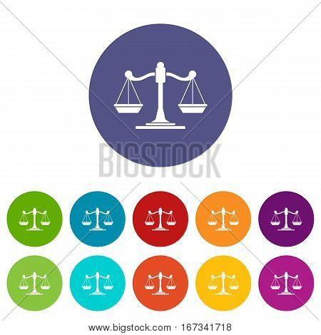 Scales of justice set icons in different colors isolated on white background