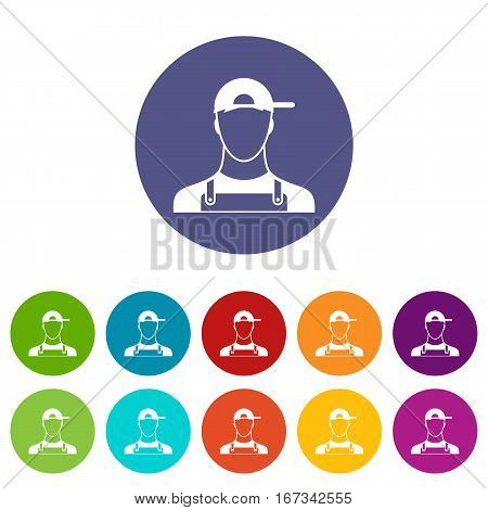 Plumber set icons in different colors isolated on white background