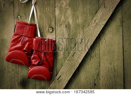 Red leather boxing gloves hang on a nail in the old wooden shabby wall empty space on the right