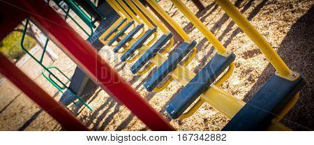 Children's play park crossing steps. Diagonal, depth-of-field view.