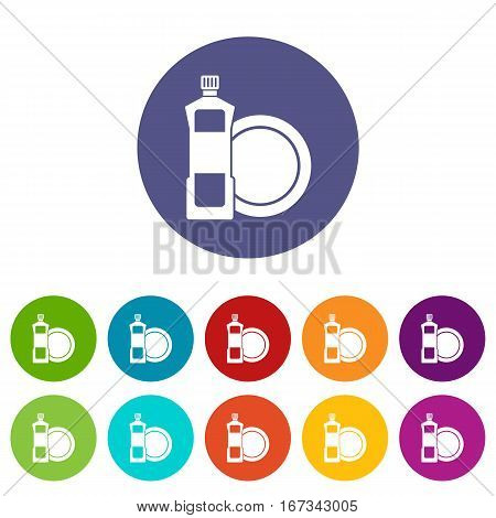 Dishwashing liquid detergent and dish set icons in different colors isolated on white background