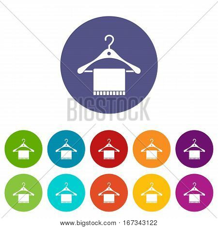 Scarf on coat hanger set icons in different colors isolated on white background