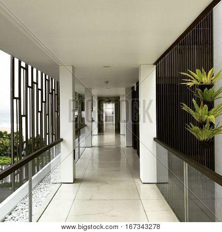 Hotel Hallway Sea View