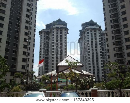Indonesia Highrise With National Flag