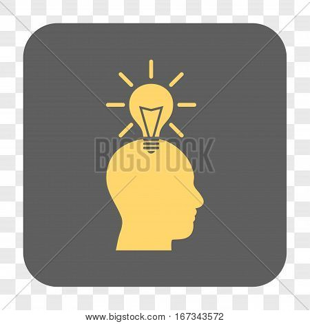 Genius Bulb interface toolbar button. Vector icon style is a flat symbol inside a rounded square button yellow and gray colors chess transparent background.