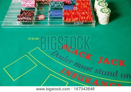 black jack tokens green table casino bet