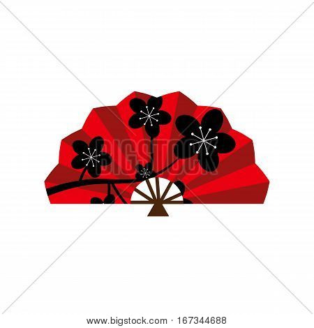 Red silk chinese fan traditional asian oriental culture paper accessory vector illustration. Elegance fashion accessory. Souvenir flower ornate decoration.