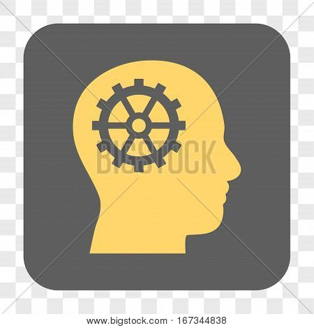 Intellect interface toolbar button. Vector icon style is a flat symbol in a rounded square button yellow and gray colors chess transparent background.