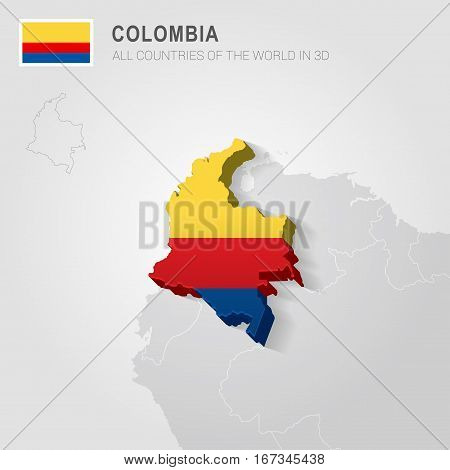 Colombia painted with flag drawn on a gray map.