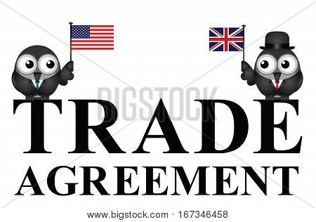 Representation of USA UK transatlantic trade agreement negotiations isolated on white background