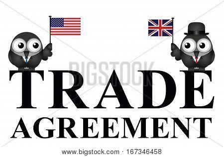 Representation of USA UK transatlantic trade agreement negotiations isolated on white background