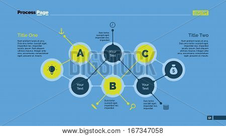 Abstract flowchart slide template. Business data. Structure, diagram, design. Creative concept for infographic, presentation. Can be used for topics like management, strategy, planning.