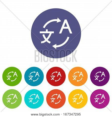 Translating set icons in different colors isolated on white background