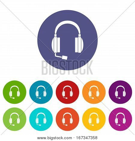 Headphones set icons in different colors isolated on white background