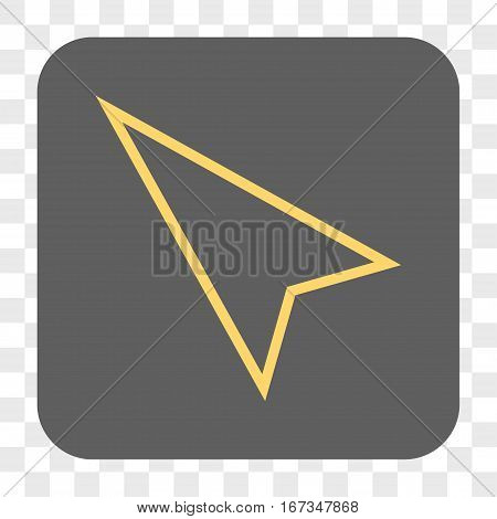 Pointer Left Up interface toolbar button. Vector icon style is a flat symbol inside a rounded square button yellow and gray colors chess transparent background.