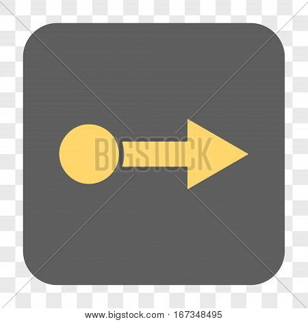 Pull Right interface toolbar button. Vector icon style is a flat symbol on a rounded square button yellow and gray colors chess transparent background.