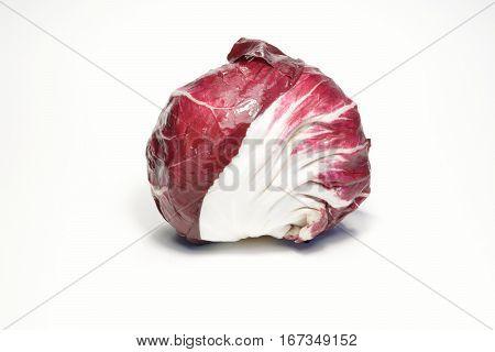 Italian red radicchio isolated on white background