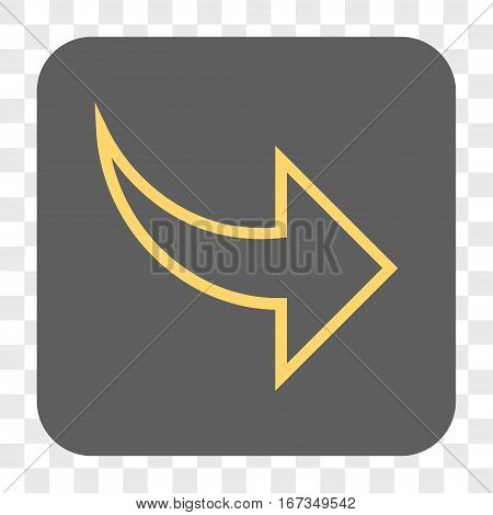 Redo interface toolbar button. Vector icon style is a flat symbol on a rounded square button yellow and gray colors chess transparent background.