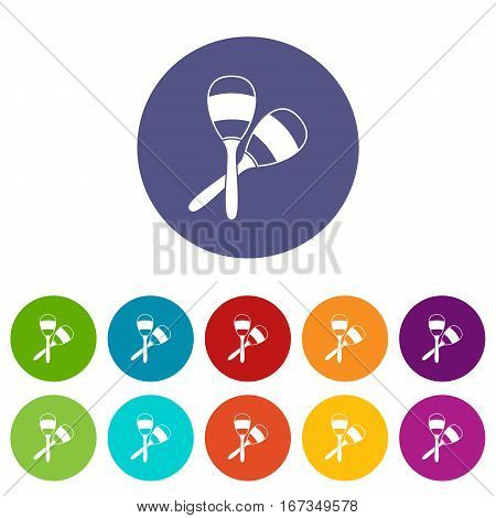 Maracas set icons in different colors isolated on white background