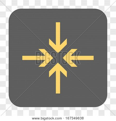 Reduce Arrows interface toolbar button. Vector icon style is a flat symbol inside a rounded square button yellow and gray colors chess transparent background.