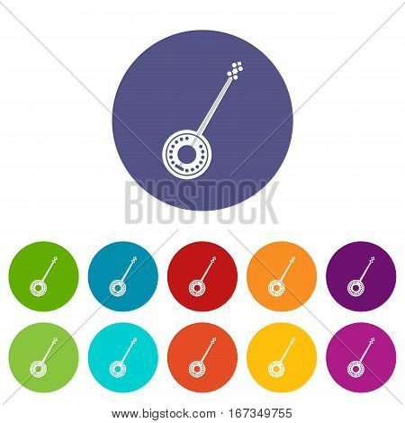 Banjo set icons in different colors isolated on white background