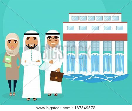 Construction of hydroelectric power. Creation of alternative energy sources. A group of professionals. Arab. Successful people