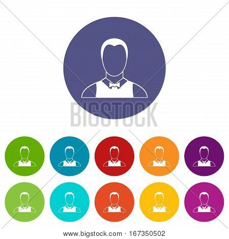 Waiter set icons in different colors isolated on white background