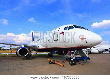 MOSCOW REGION - AUGUST 27: Display of  Russian new passenger aircraft