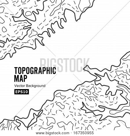 Topographic Map Background Concept. Elevation Map. Topo Contour Map Background. Isolated On White
