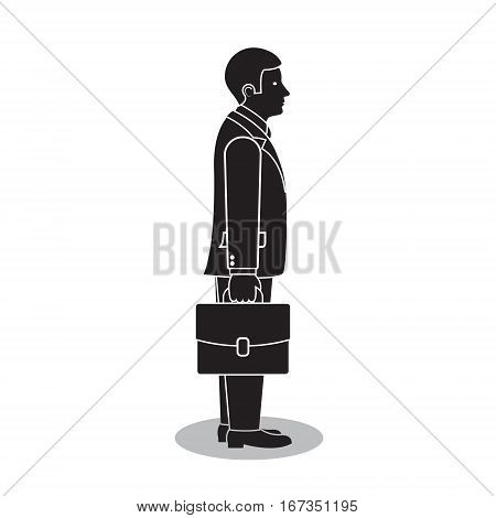 Businessman side view with briefcase or portfolio vector isolated silhouette illustration.