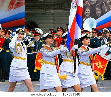 MOSCOW - MAI 7: Parade formation in solemn march on Red Square -  on Mai 7, 2016 in Moscow