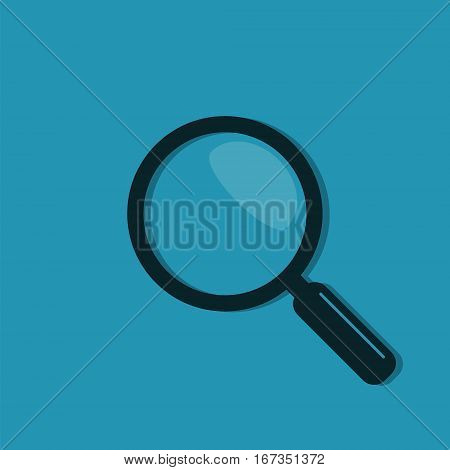 Magnifier icon in flat style vector. Magnifying glass symbol isolated on blue background.
