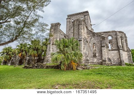 The Unfinished Church in Saint George Bermuda. This is a church that began being built in 1874. However it was never completed.