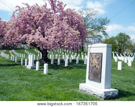 Arlington, USA - April 9, 2010: Challenger Memorial on the Arlington National Cemetery.